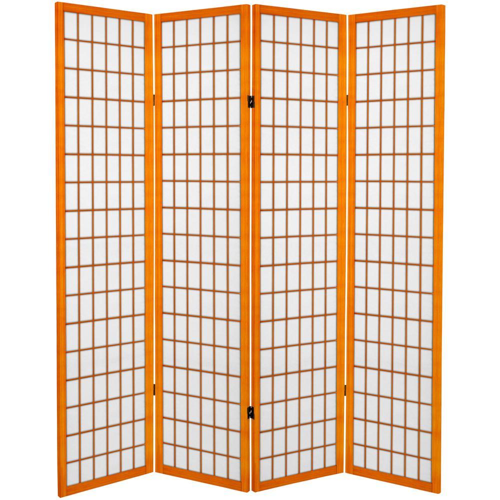 Oriental Furniture 6 Ft Honey Canvas Window Pane 4 Panel Room Divider