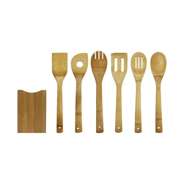 Home-X 5-Piece Bamboo Cooking Utensils Set with Holder