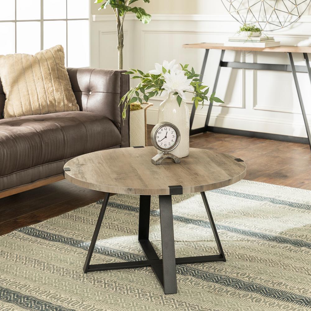 30 in. Grey Wash/Black Rustic Urban Industrial Wood and Metal Wrap Round Coffee Table