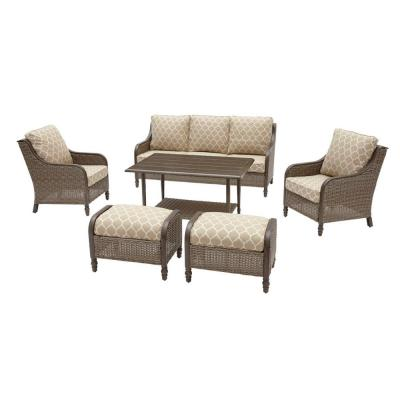Windsor 6-Piece Brown Wicker Outdoor Patio Conversation Seating Set with CushionGuard Toffee Trellis Tan Cushions