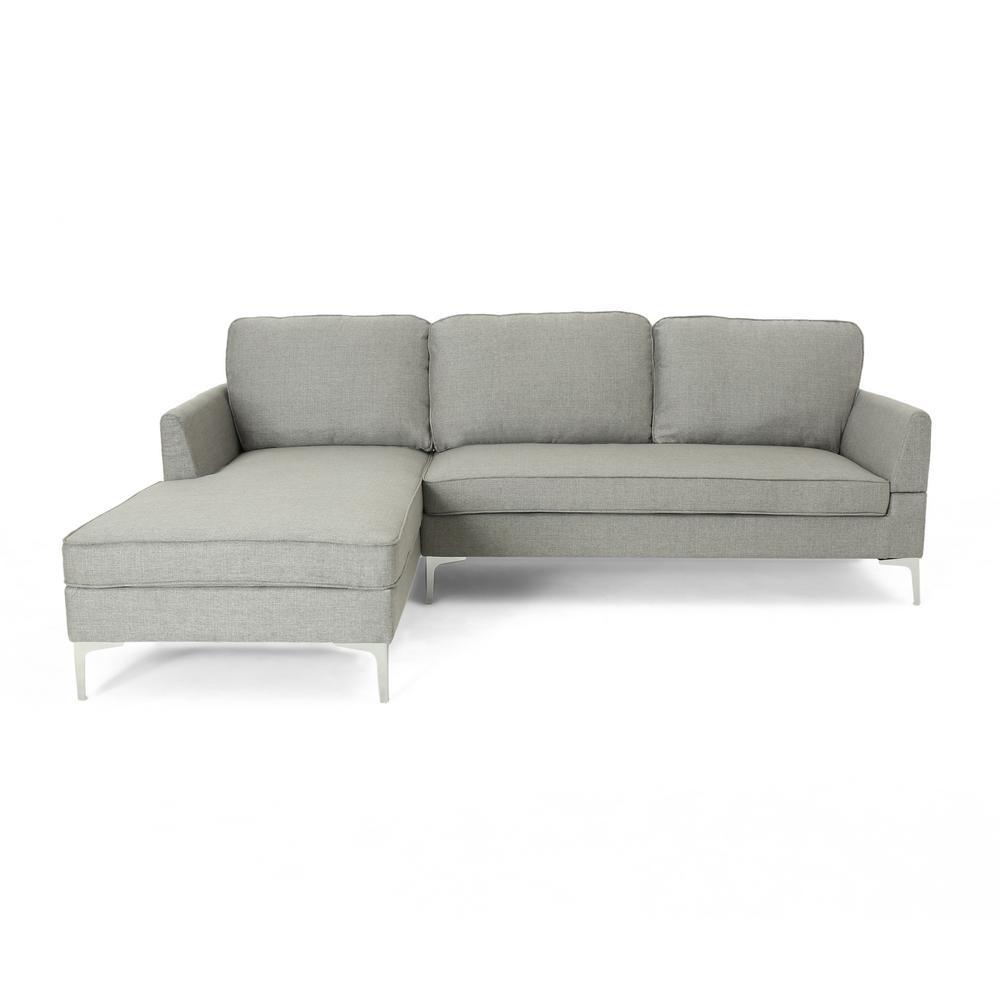 Noble House OConner Mid-Century Modern 2-Piece Gray Fabric Sectional Sofa Set