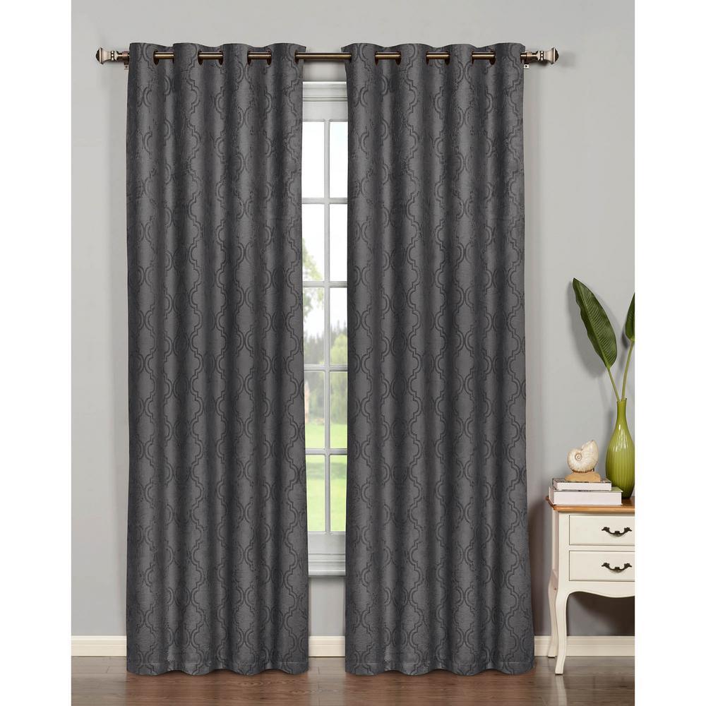 Semi-Opaque Newbury Lattice 54 in. W x 84 in. L Room Darkening Grommet Extra Wide Curtain Panel in Charcoal