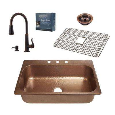 Pfister All-in-One Angelico Copper Sink 33 in. Drop-in 3-Hole Kitchen Sink with Ashfield Pull Down Faucet Rustic Bronze