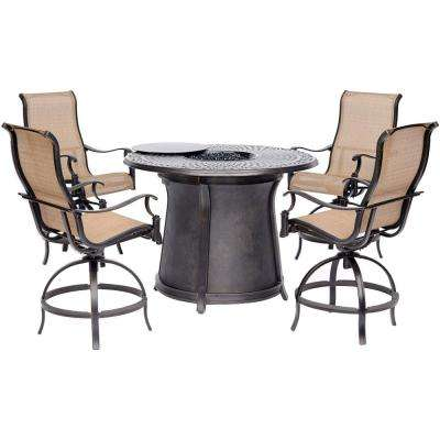 Manor 5-Piece Aluminum Outdoor Fire Pit Chat Set with Round Bar Table