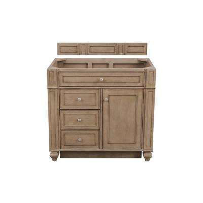 Bristol 36 in. W Single Vanity Cabinet Only in Whitewashed Walnut