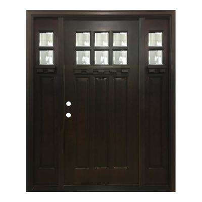 60 in. x 80 in. Craftsman Bungalow 6 Lite Right-Hand Inswing Hickory Stained Wood Prehung Front Door 10 in. Sidelites