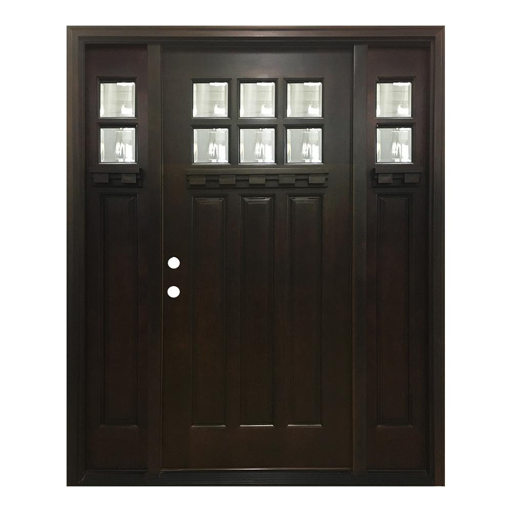 Steves sons 68 in x 80 in craftsman bungalow 6 lite right hand inswing hickory stained wood for Prehung hickory interior doors