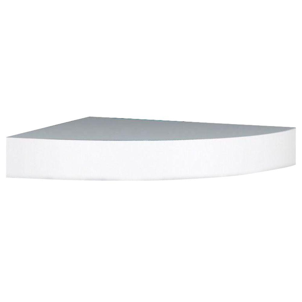 Unbranded 11.8 in. x 11.8 x 2 in. H White MDF Floating Corner Wall ...