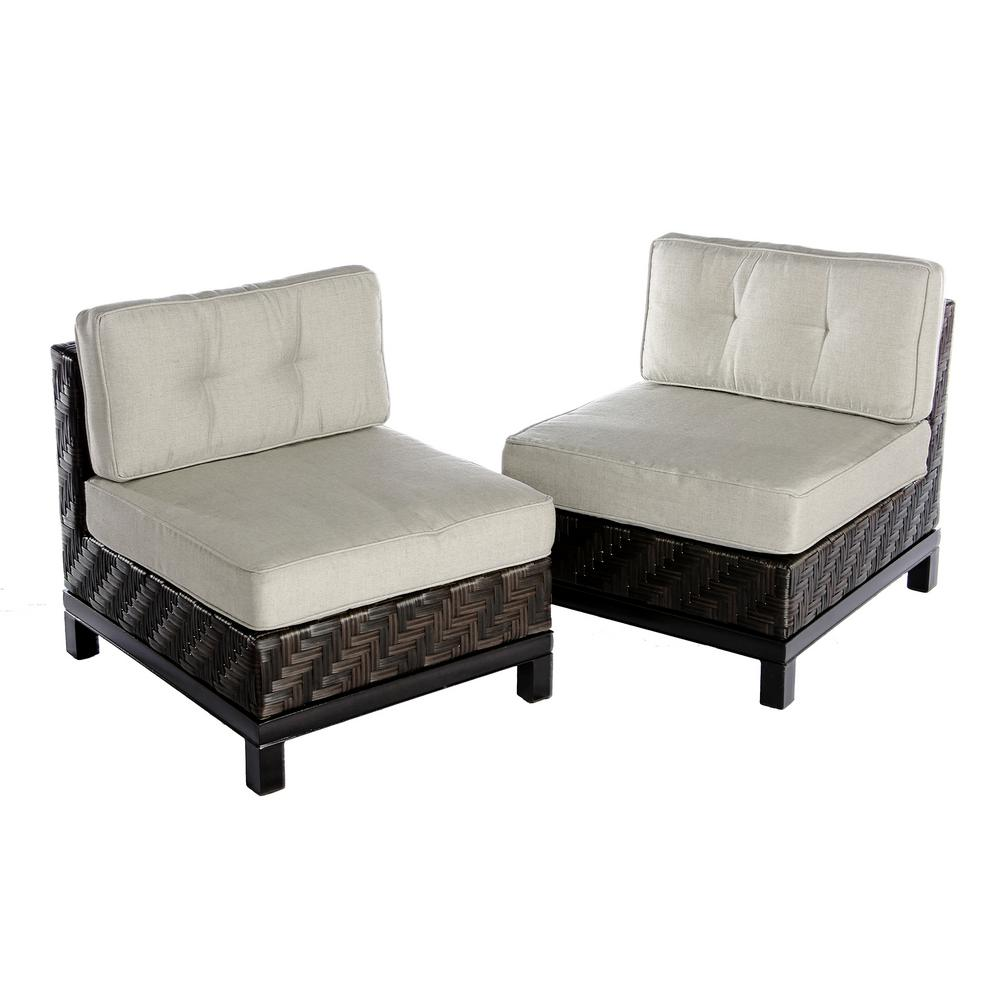 Ae Outdoor Rachel 2 Piece Wicker Patio Seating Set With Cast Ash