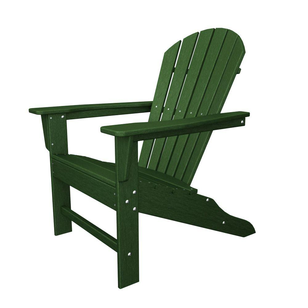 Ordinaire POLYWOOD South Beach Green Plastic Patio Adirondack Chair