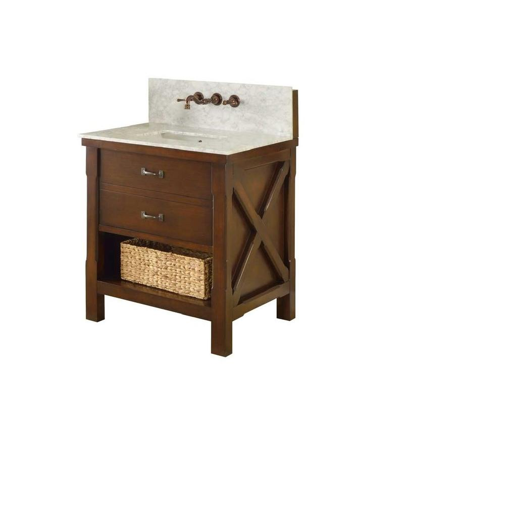 Direct vanity sink Xtraordinary Spa Premium 32 in. Vanity in Dark Brown with Marble Vanity Top in Carrara White with White Basin