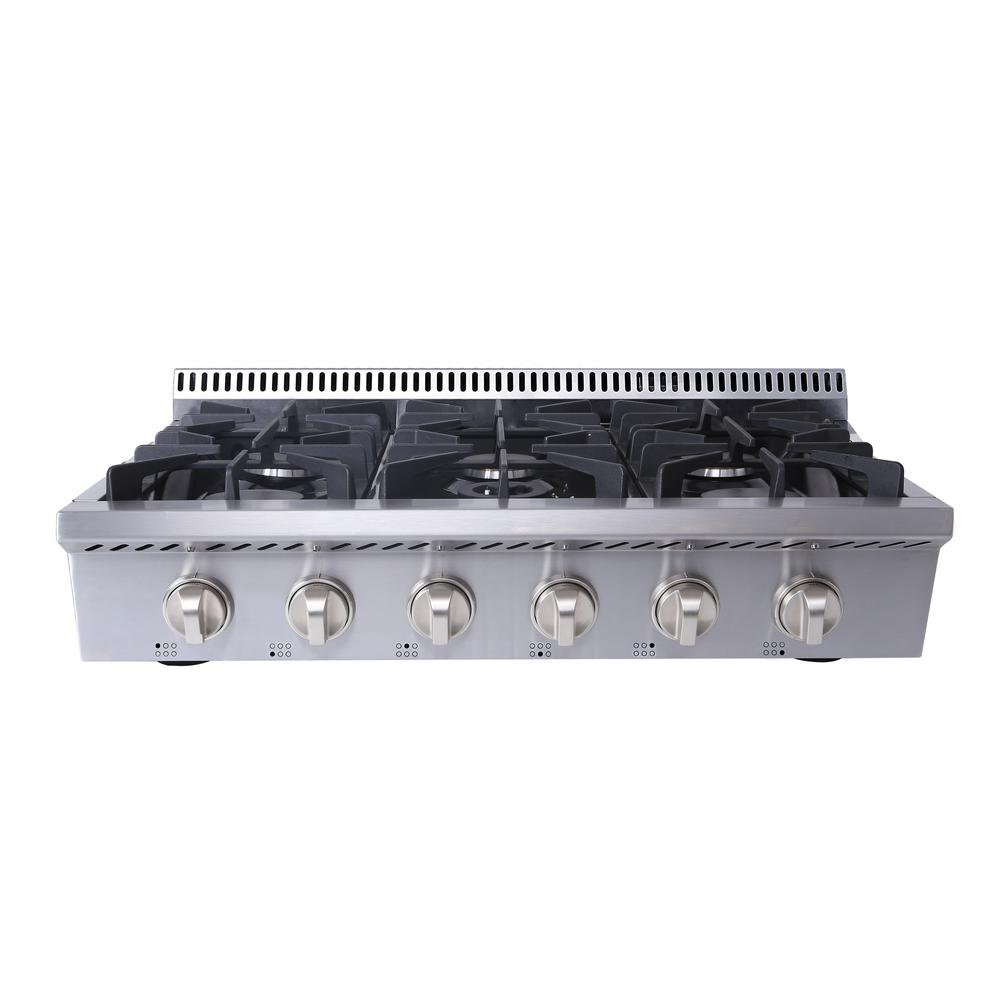 Gas Cooktop In Stainless Steel With 6 Burners