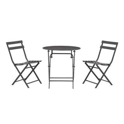 Follie Black 3-Piece Outdoor Patio Bistro Set