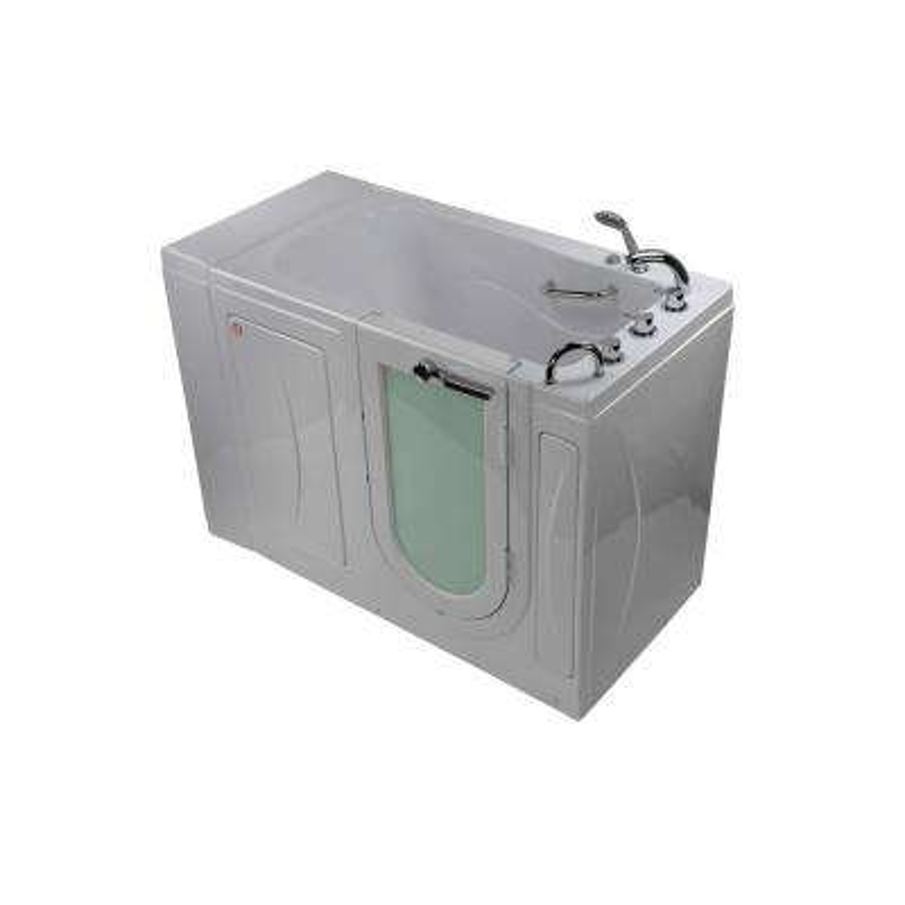 Malibu 52 in. Walk-In MicroBubble Air Bath in White with RH Outward Swing Door, Heated Seat, Faucet, RH 2 in. Dual Drain