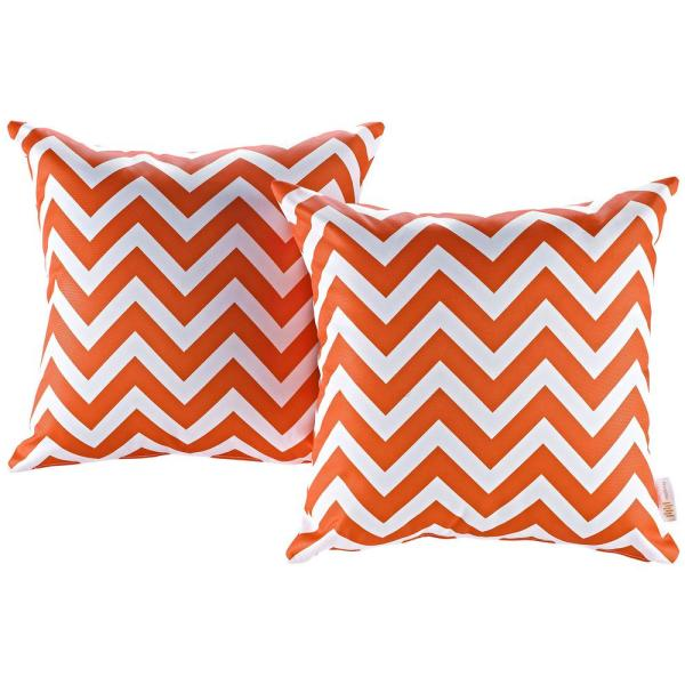 Patio Square Outdoor Throw Pillow Set in Chevron (2-Piece)