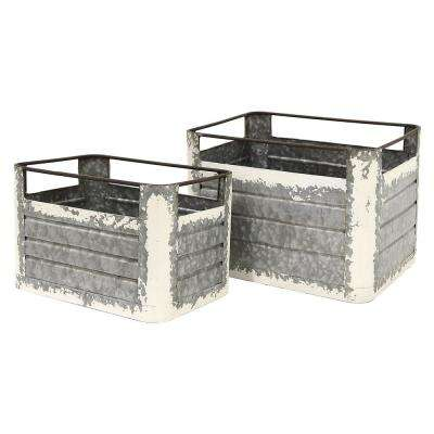 14.25 in. x 10.25 in. Metal Storage Containers in Gray (Set of 2)