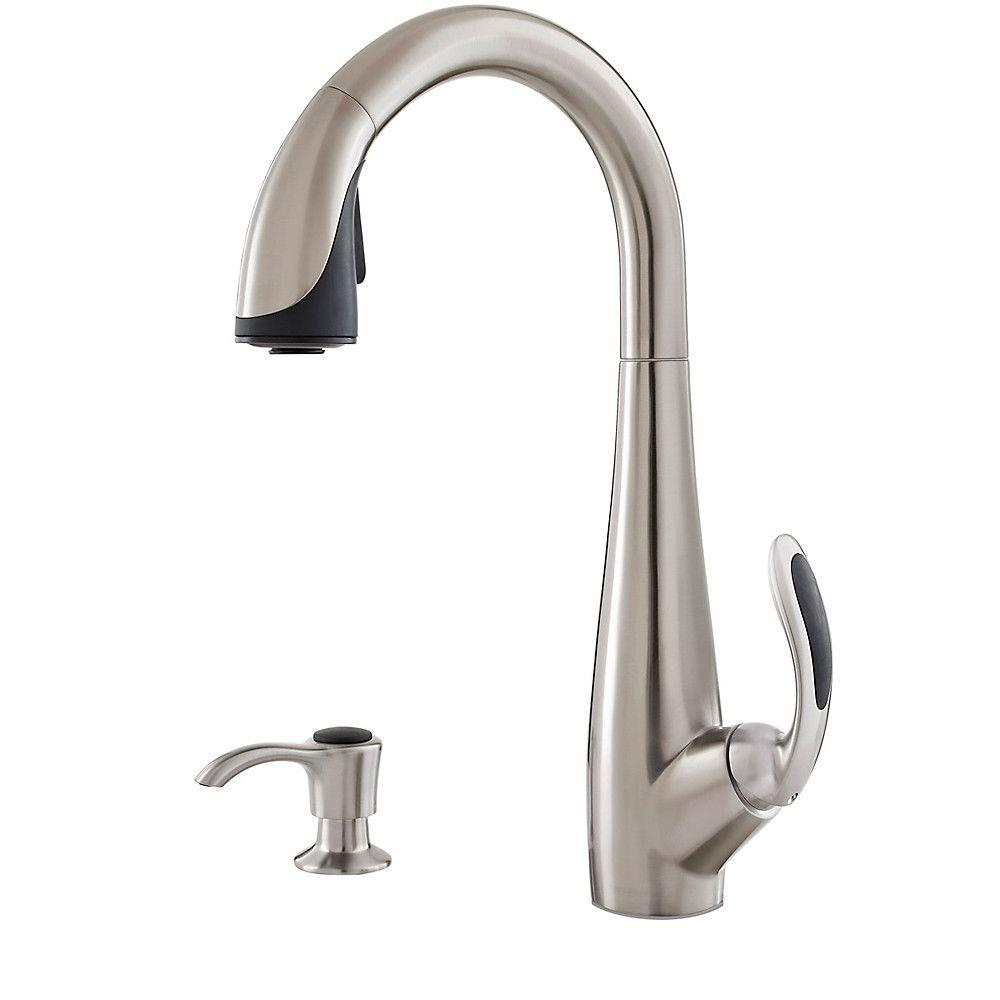 Nia Single-Handle Pull-Down Sprayer Kitchen Faucet with Soap Dispenser in