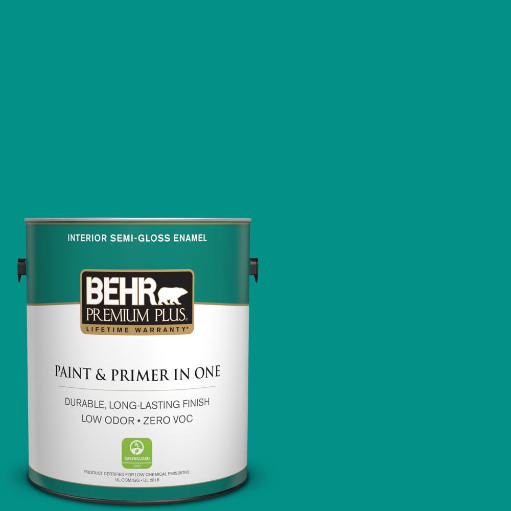 1 gal. #490B-6 Emerald Coast Semi-Gloss Enamel Zero VOC Interior Paint