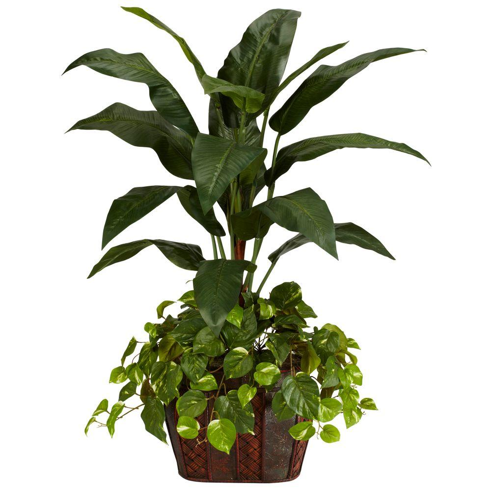 4 Ft Green Bird Of Paradise With Vase And Pothos Silk Plant