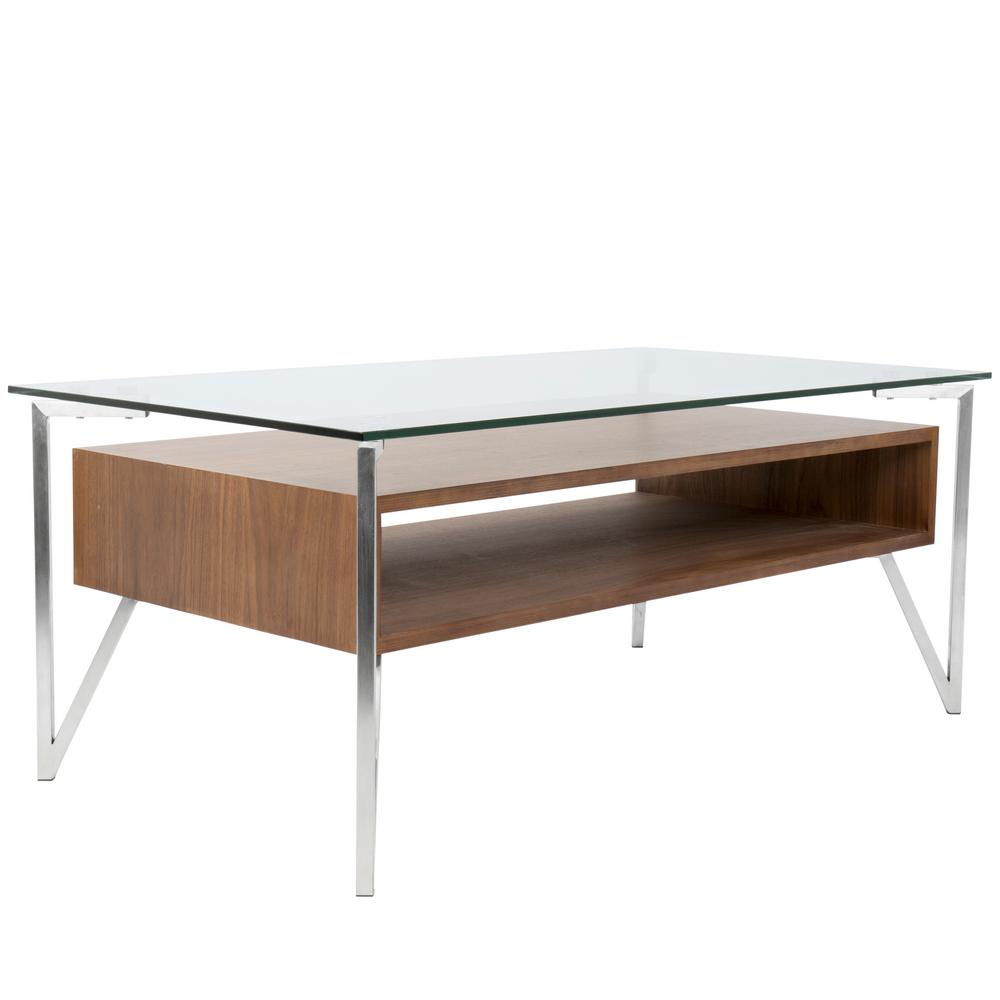 Oregon Coffee Table Walnut: Lumisource Hover Clear Glass, Walnut Wood, And Stainless