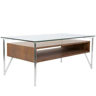 Hover Clear Glass, Walnut Wood, and Stainless Steel Coffee Table