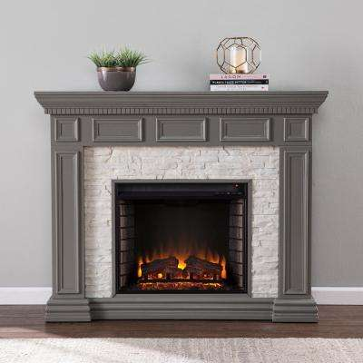 Macksen 50 in. Electric Fireplace in Gray with Faux Stone