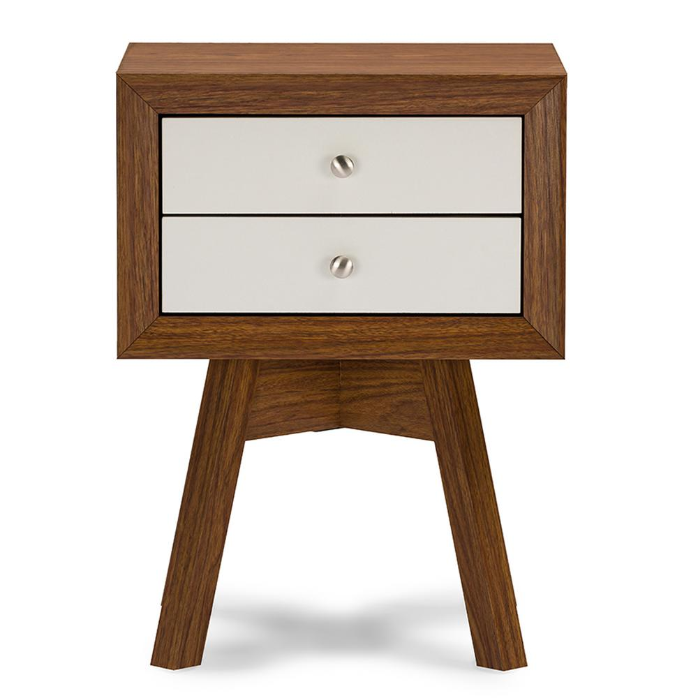 Warwick 2-Drawer White and Medium Brown Wood Nightstand