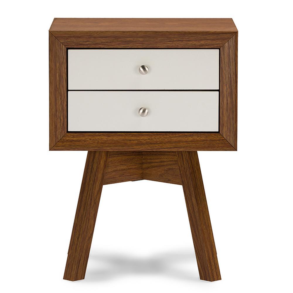 Warwick 2-Drawer White and Medium Brown Wood Nightstand