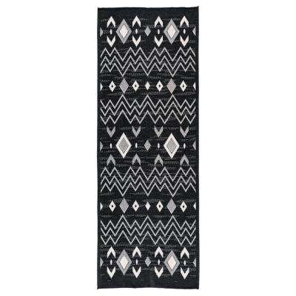 Dejavu Collection Light Grey/Black 2 ft. 7 in. x 7 ft. 9 in. Reversible Anti-Bacterial Runner