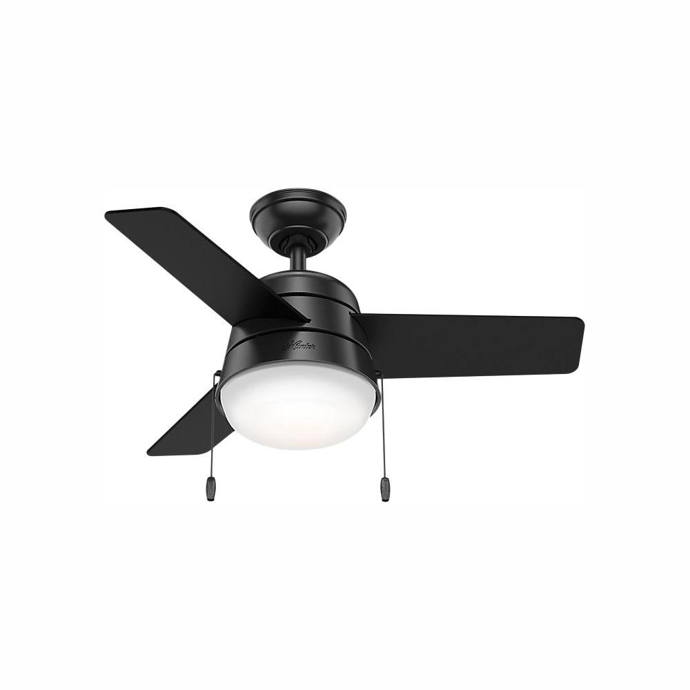 Hunter Aker 36 in. LED Indoor Matte Black Ceiling Fan with Light