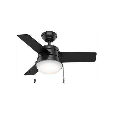 Aker 36 in. LED Indoor Matte Black Ceiling Fan with Light