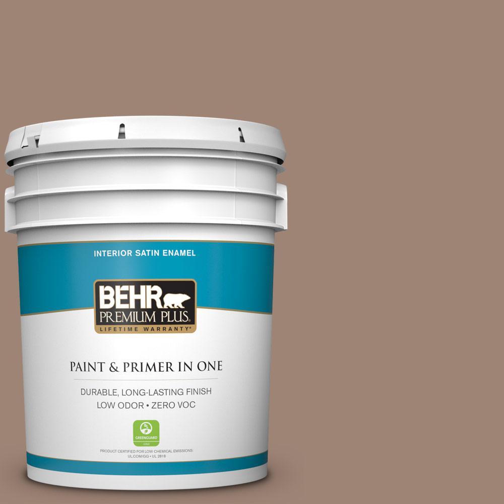 BEHR Premium Plus 5-gal. #760B-5 Blanket Brown Zero VOC Satin Enamel Interior Paint