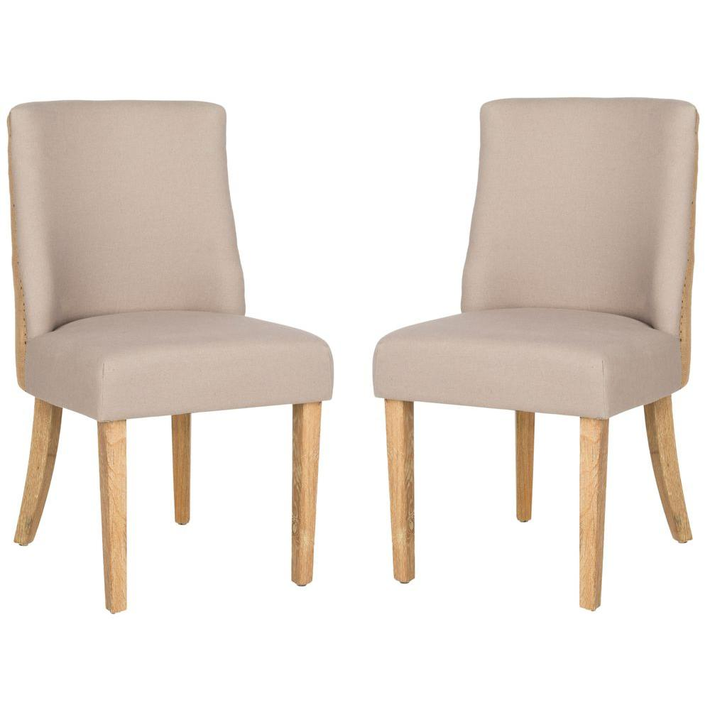 Judy Taupe and Beige Linen Blend Side Chair (Set of 2)