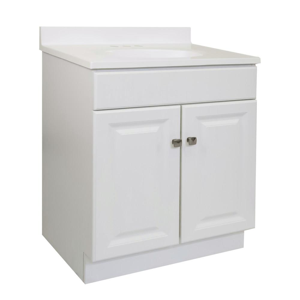 Amazing Design House 30 In X 18 In X 33 5 In 2 Door Bath Vanity In White W 4 In Centerset White On White Cm Vanity Top W Basin Download Free Architecture Designs Scobabritishbridgeorg