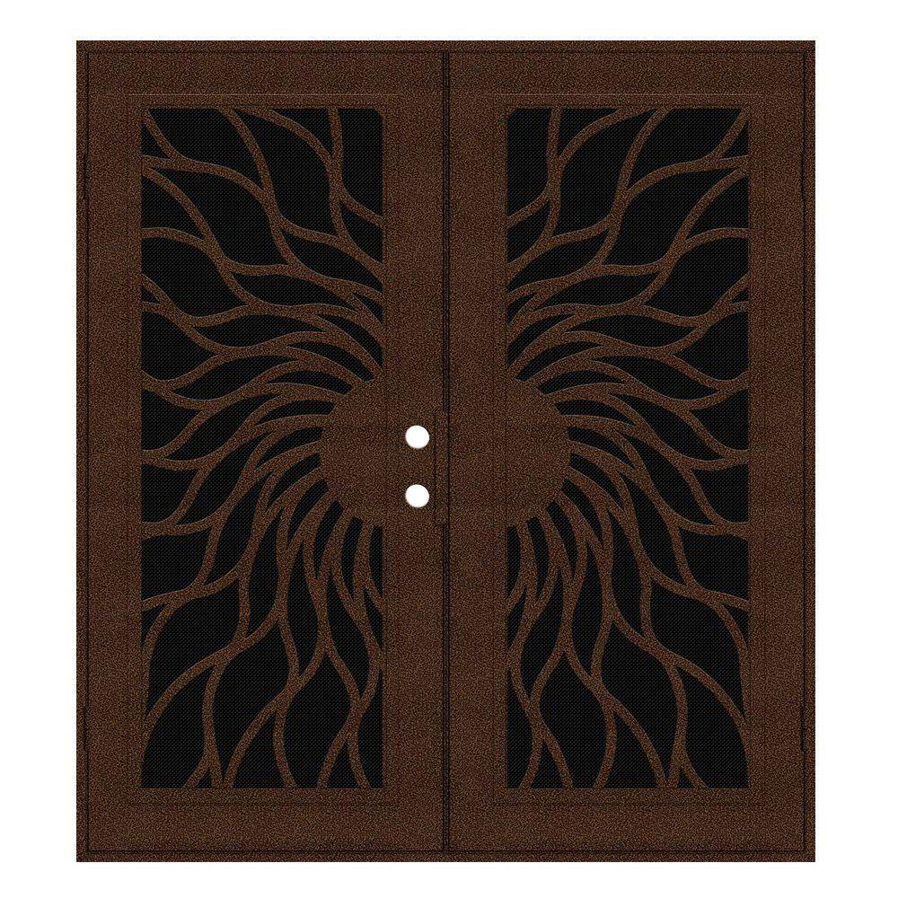 Unique Home Designs 60 in. x 80 in. Sunfire Copperclad Left-Hand Recessed Mount Aluminum Security Door with Black Perforated Screen
