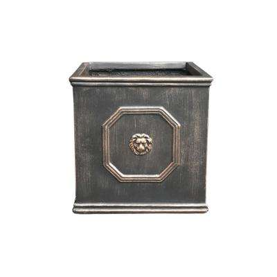 12.6 in. Bronze Lightweight Concrete Lion Head Square Medium Planter