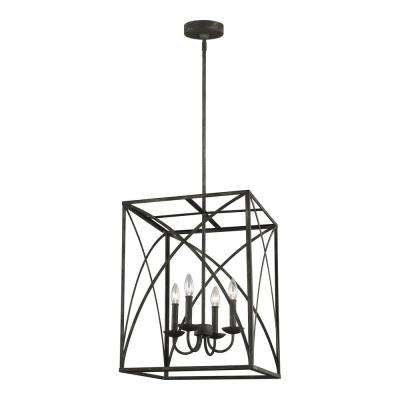 Greenbrier 17 in. W. 4-Light Iron Oxide Chandelier
