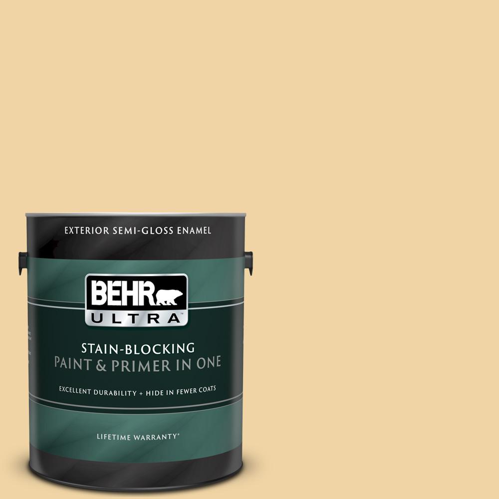 Behr Ultra 1 Gal Pmd 93 Garbanzo Bean Semi Gloss Enamel Exterior Paint And Primer In One 585401 The Home Depot
