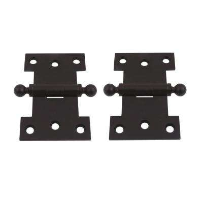 2-1/2 in. x 4 in. Solid Brass Matte Black Parliament Hinge with Ball Finials (1-Pair)