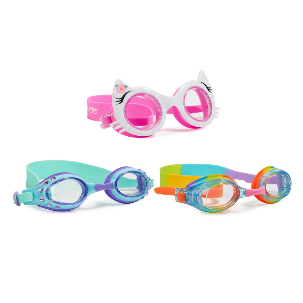 AQUA2UDE Kitty and Classic Goggle (3-Pack), White/Pink/Ra...