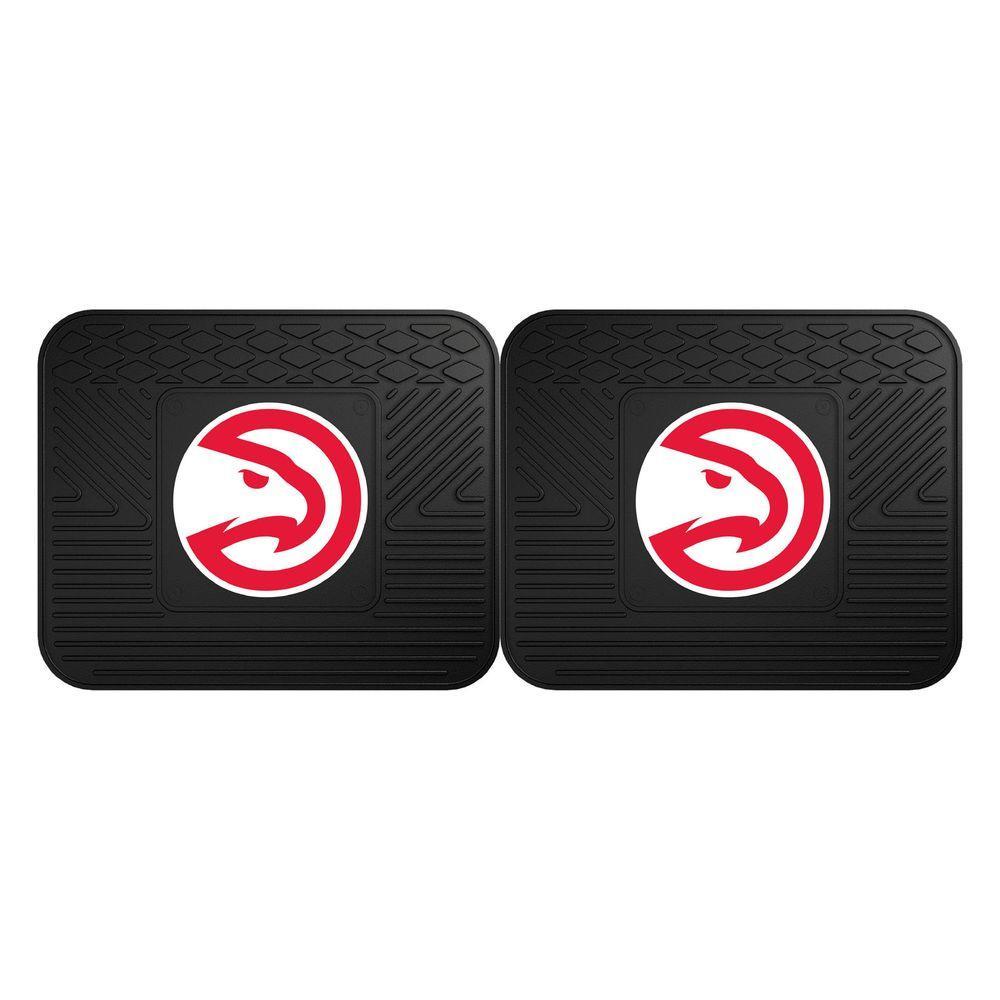 NBA Atlanta Hawks Black Heavy Duty 2-Piece 14 in. x 17 in. Vinyl Utility Mat