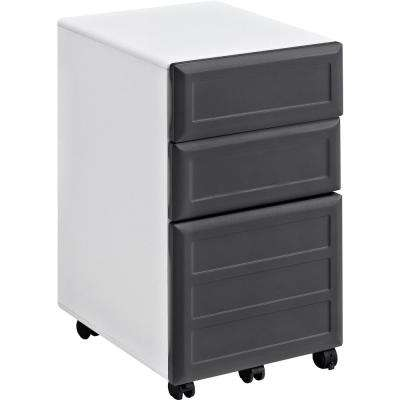 Mansfield 3-Drawer Gray and White Mobile File Cabinet