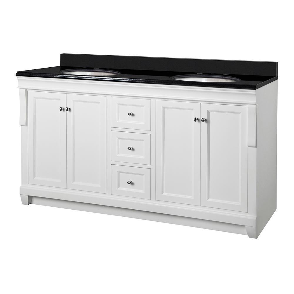 Naples 61 in. W x 22 in. D Vanity in White with Granite Vanity Top in Black with White Basin