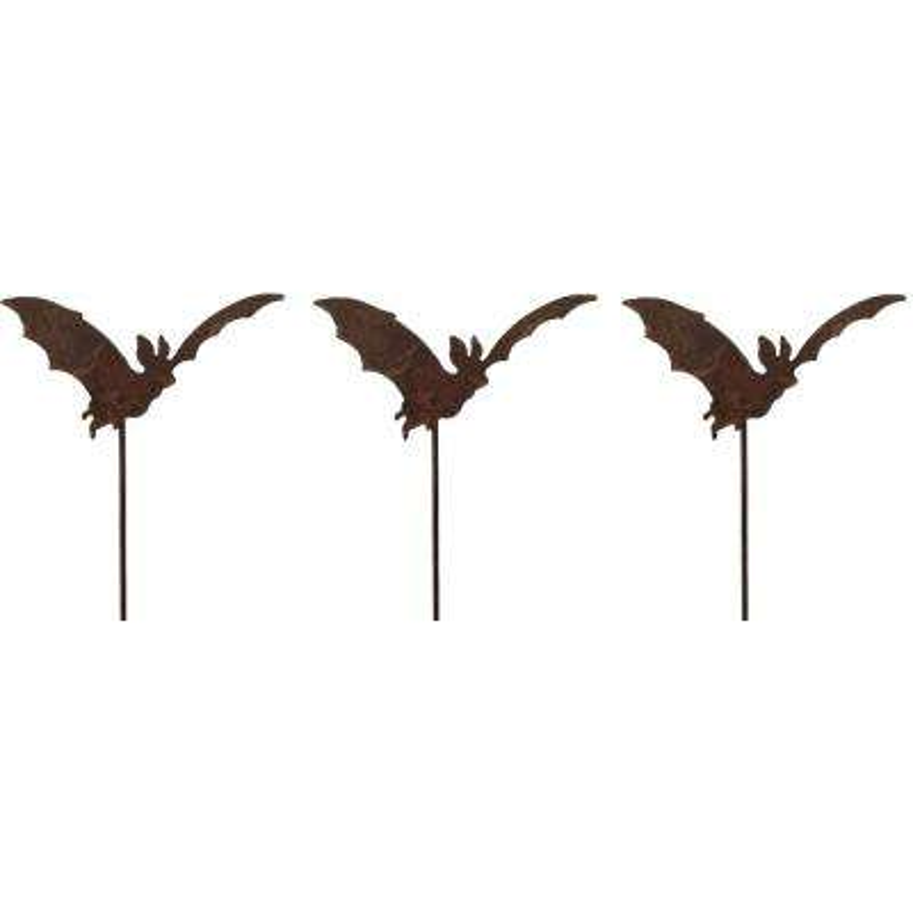 20 in. Tall Metal Rustic Look Artwork Flying Bat Picks for Plants (Set of 3)