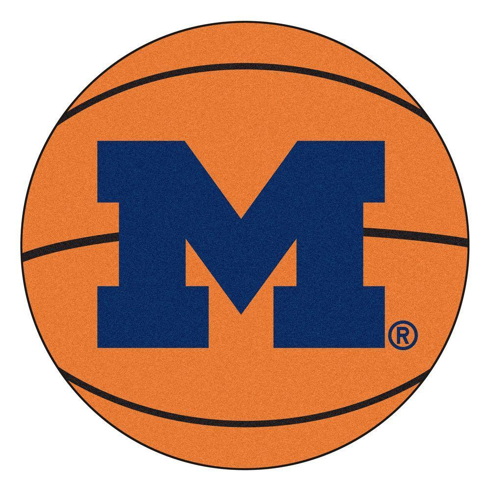 NCAA University of Michigan Orange 2 ft. x 2 ft. Round Area Rug