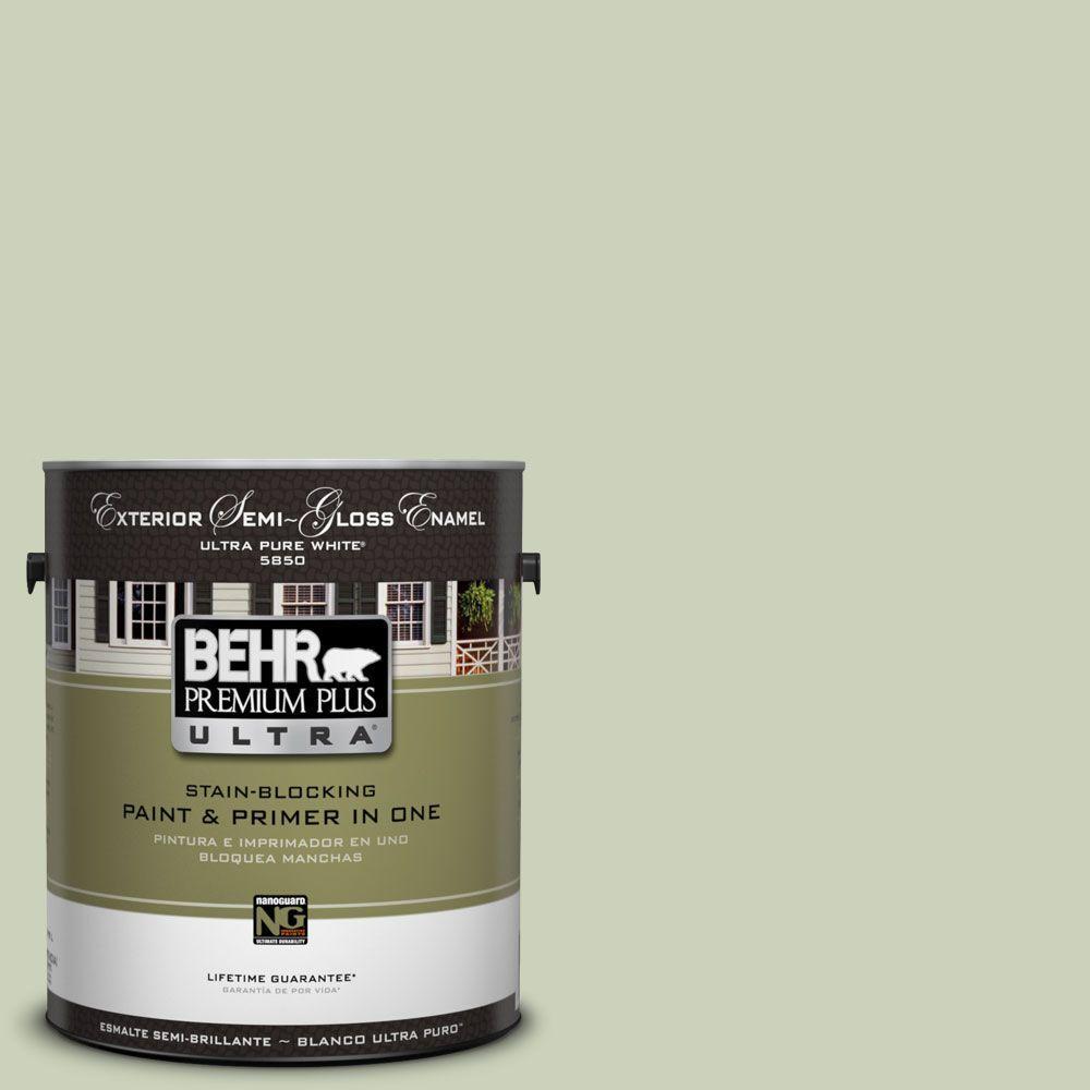 BEHR Premium Plus Ultra 1-Gal. #UL210-12 Chinese Jade Semi-Gloss Enamel Exterior Paint