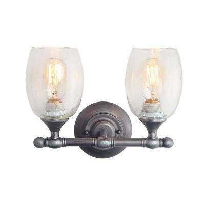 2-Light Aged Silver Bathroom Vanity Light with Seeded Glass Shade