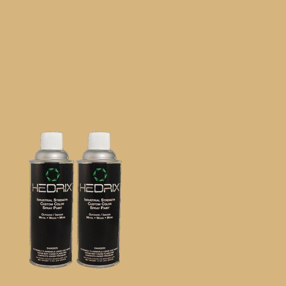 Hedrix 11 oz. Match of QE-29 Light Oak Flat Custom Spray Paint (8-Pack)