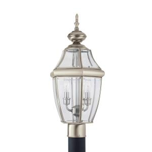 Lancaster 2-Light Outdoor Antique Brushed Nickel Post Light with Dimmable Candelabra LED Bulb