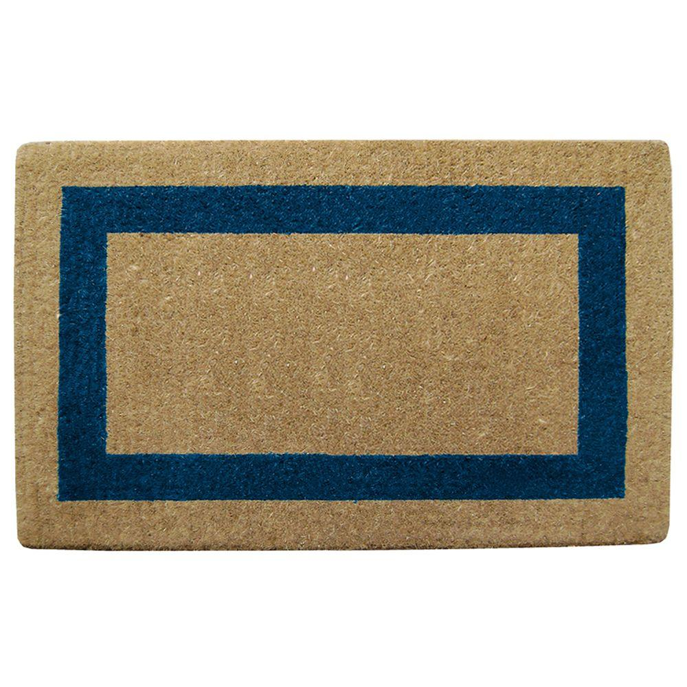 Creative Accents Single Picture Frame Blue 38 in. x 60 in. Coir Door Mat